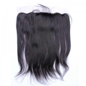 Natural Color Silk Straight Brazilian Virgin Hair Silk Base Lace Frontal Closure 13x4inches