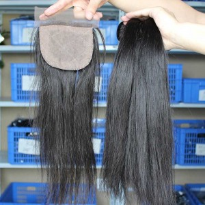 Brazilian Virgin Hair Straight 4X4inches Middle Part Silk Base Closure with 3pcs Weaves