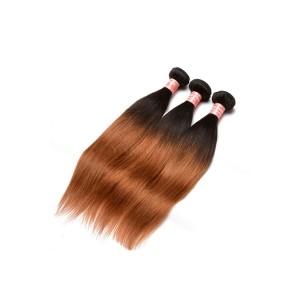 Peruvian Virgin Human Hair Silky Straight Ombre Hair Weave Color 1b/#30 3 Bundles
