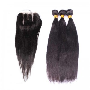 Indian Remy Hair Silky Straight Free Part Lace Closure with 3pcs Weaves
