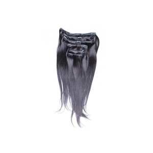 Natural Color Silky Straight Mongolian Virgin Hair Clip In Human Hair Extensions