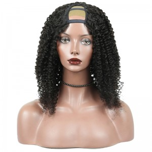 Brazilian Kinky Curly U Part Human Hair Wig For Women Natural Black 130% Density