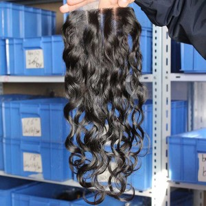 European Virgin Hair Water Wet Wave Free Part Lace Closure 4x4inches Natural Color