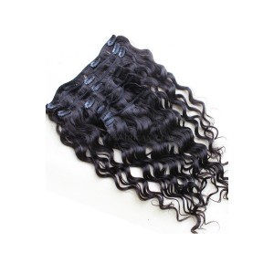Natural Color Loose Wave Mongolian Virgin Hair Clip In Human Hair Extensions