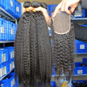 Malaysian Virgin Hair Kinky Straight Free Part Lace Closure with 3pcs Weaves