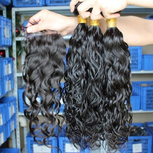 Indian Virgin Hair Water wave Free Part Lace Closure with 3pcs Weaves