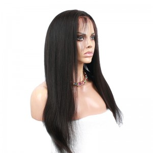 Malaysian Virgin Hair Light Yaki Lace Front Human Hair Wigs Natural Color