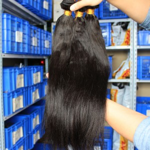 Indian Virgin Human Hair Yaki Straight Hair Weave Natural Color 3 Bundles