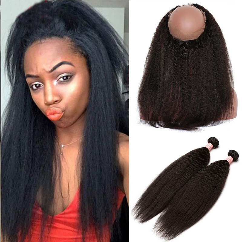2392eaf69c8 360 Frontal Closure With Two Bundles Brazilian Virgin Hair Kinky ...