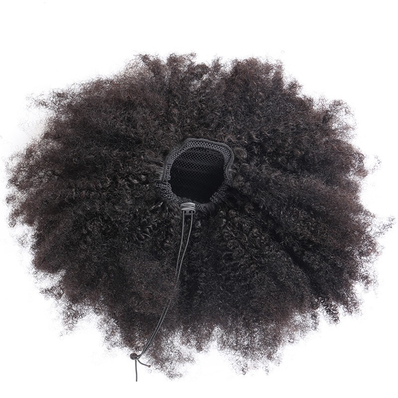 Human Hair Extensions Kinky Curly Ponytails Hairpieces Natural Pony