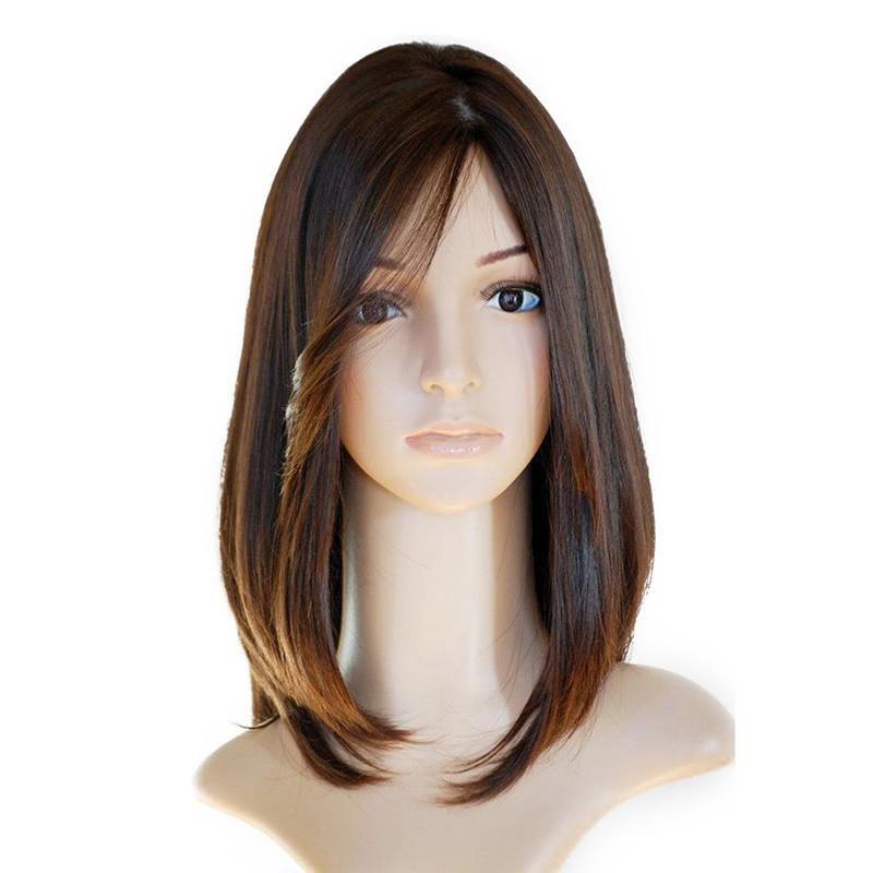 Brown Color European Virgin Hair Silky Straight Jewish Silk Top Full