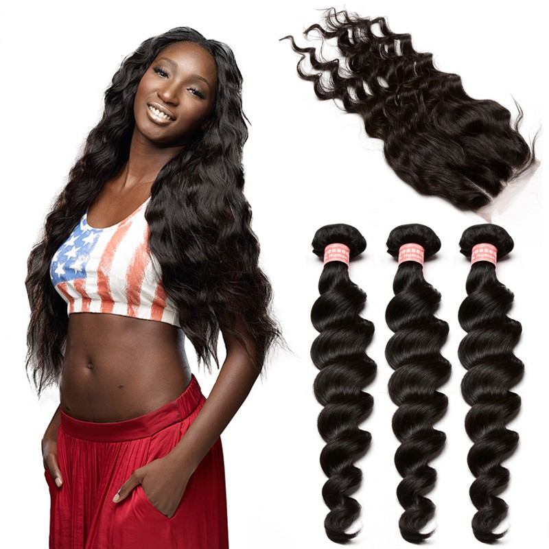 Brazilian Virgin Human Hair Extensions Loose Wave 3 Bundles With 1 Closure Natural Color Body
