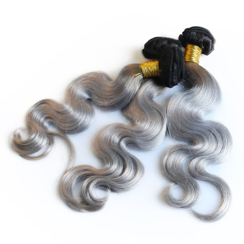 Color 1b Grey Body Wave Brazilian Virgin Hair Weaves 3pcs Buddles
