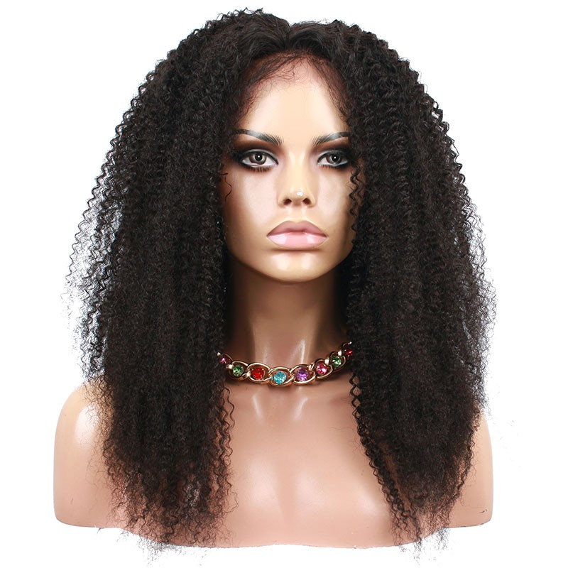 Natural Color Afro Kinky Curly Human Hair Wig Brazilian Virgin Hair Full  Lace Wigs 31379450b