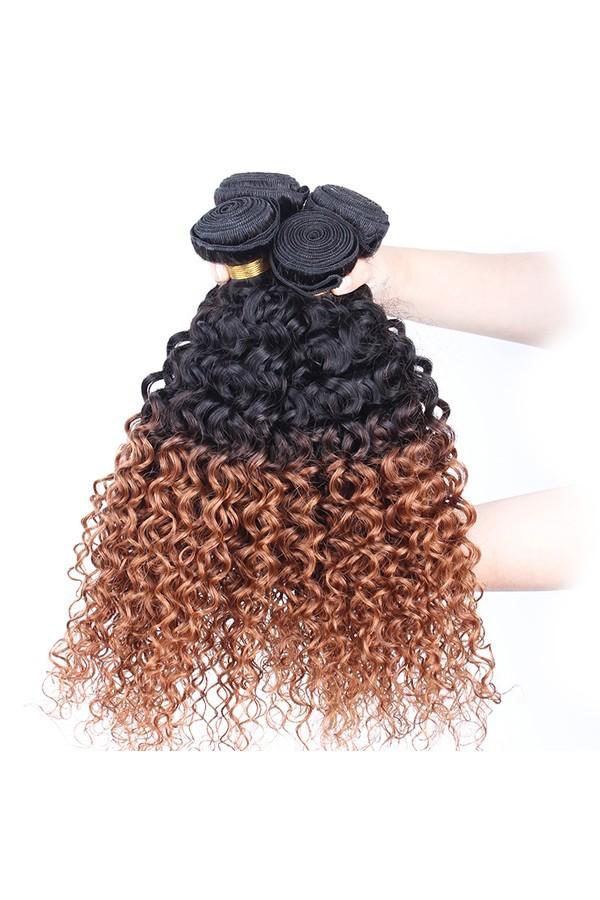 Ombre Hair Weave Color 1b30 Kinky Curly Virgin Human Hair 3