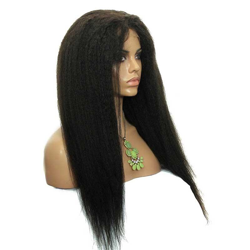 Kinky Straight Full Lace Human Hair Wigs Mongolian Virgin Hair