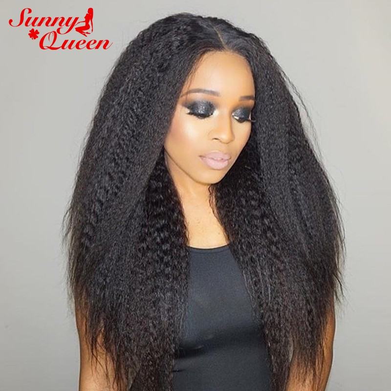 Natural Color Brazilian Virgin Human Hair Kinky Straight Wig Lace
