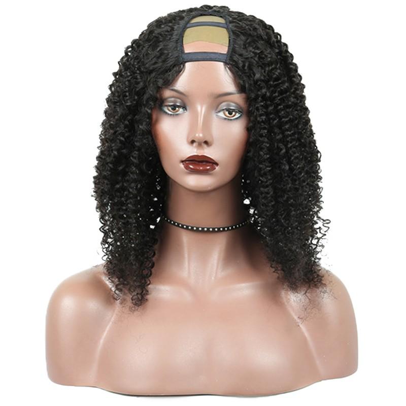 2b905443787 U Part Human Hair Wigs Brazilian Kinky Curly U Part Wig For Women ...