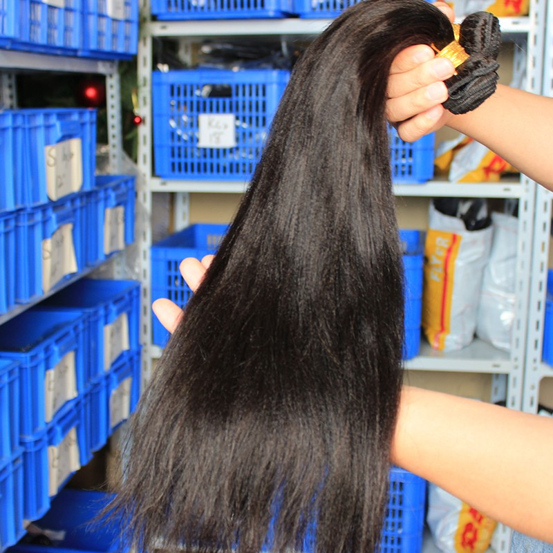 Indian Remy Human Hair Yaki Straight Hair Weave Natural Color 3