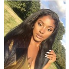 Lace Front Human Hair Wigs For Black Women Brazilian Straight Hair Wig Pre Plucked Bleached Knots