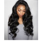 180% Density Body Wave Full Lace Human Hair Wigs Pre Plucked Nature Black