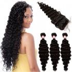 Brazilian Virgin Human Hair with Closure Deep Wave 3 Bundles with 1 closure Natural Color
