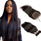 Brazilian Straight Virgin with Closure Hair Extensions 3 Bundles with 1 closure Natural Color