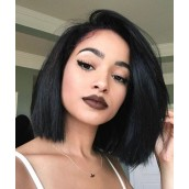 Lace Front Human Hair Short Bob Wigs For Black Women Wigs With Baby Hair Nature Color