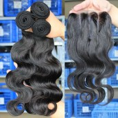 Brazilian Virgin Hair Body Wave Hair Weave 3pcs Bundles with A Three Part Lace Closure