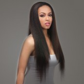 Natural Color Italian Yaki Brazilian Virgin Hair Lace Front Human Hair Wigs