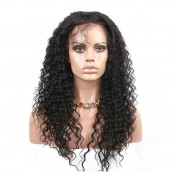 Natural Color Deep Wave Wavy Full Lace Wigs Brazilian Virgin Human Hair