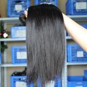 3Pcs Silk Straight Peruvian Human Virgin Hair Weave Bundles Natural Color