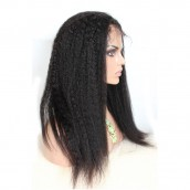 Natural Color Kinky Straight Brazilian Virgin Human Hair Full Lace Wigs