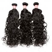 Natural Color Water Wet Wave Brazilian Virgin Human Hair Weave 3pcs Bundles
